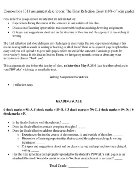 sample reflective essay templates  ms word