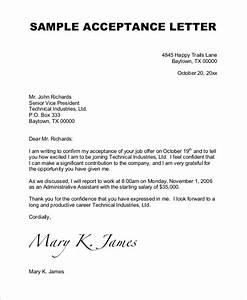 7+ Sample Job Acceptance Letters Sample Templates