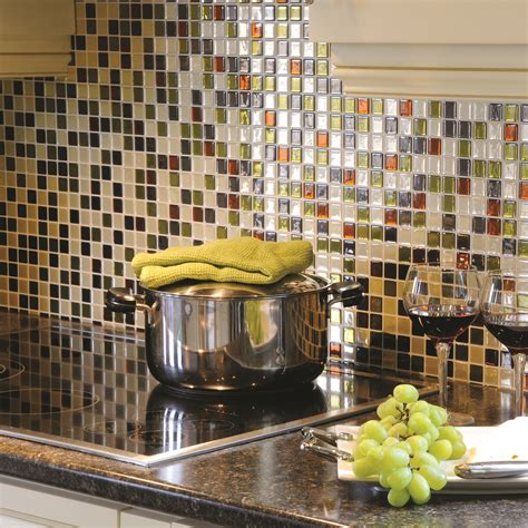 credence adhesive cuisine smart tiles mosaik idaho 9 85 quot x 9 85 quot peel stick wall