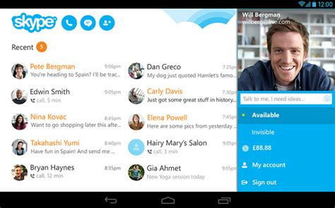 skype for android tablet skype for android scores enhanced call quality new