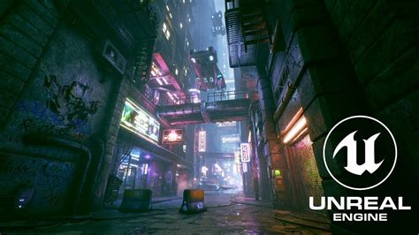 cyberpunk city alley unreal engine  cyberpunk
