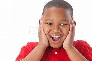 Real People: Headshot African American Boy Happy Surprised ...