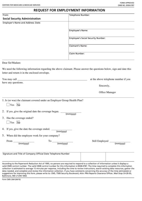 fillable form cms l564 request for employment