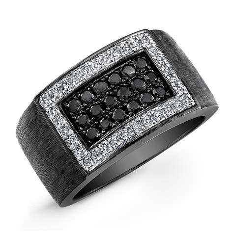 black sterling silver black  white diamond mens ring
