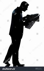 One Caucasian Man Walking Reading Newspaper Stock Photo ...