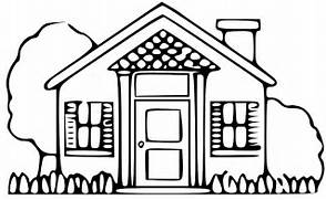 Simple Black and White House Clip Art Image - 985  School House Black      Construction House Clip Art Black And White