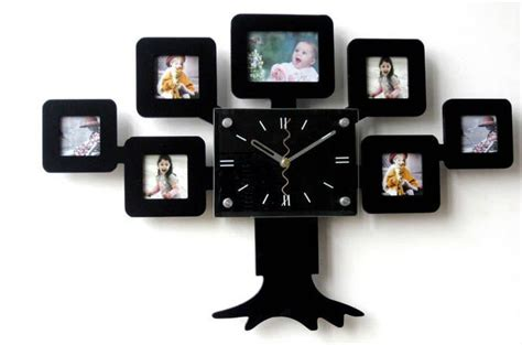 Design Wooden Wall Clock With Photo Frame