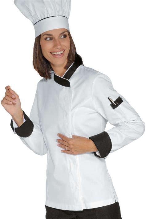 chef de cuisine femme veste chef femme snaps blanc noir 100 coton