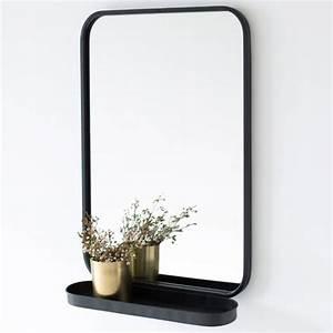 miroir avec etagere en metal noir bords arrondis decoclico With miroir factory