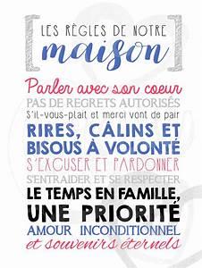Regle De Vie A La Maison : affiche personnalis e les r gles de la maison la craie co ~ Dailycaller-alerts.com Idées de Décoration