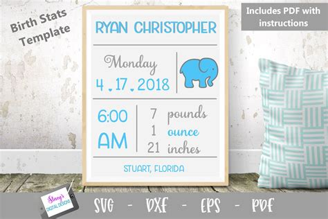 With the templates offered here, you can create your own birth announcement, just change the different elements (e.g. Baby Birth Stats Template SVG - Birth Announcement SVG ...