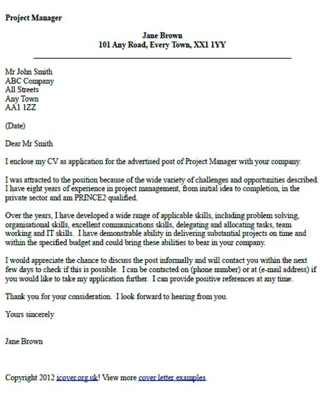 Cover Letter For Project Assistant Position Project Manager Cover Letter Exle Cover Letters And Cv Exles