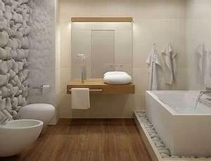 salle de bain design galet et carrelage blanc With sol en galets salle de bain