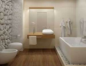salle de bain design galet et carrelage blanc With carrelage salle de bain galet