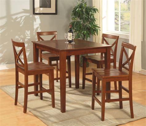 5pc square pub set counter height table with 5 wood seat