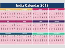 Calendar 2019 Holidays India Printable Coloring Page for