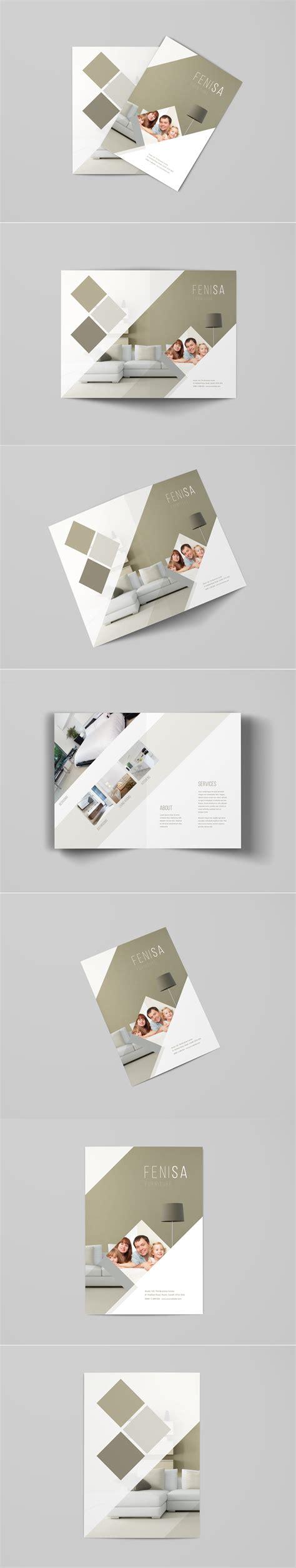 home design dimensions a4 bi fold brochure mockup