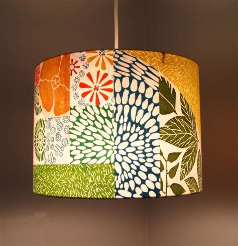 hand crafted hand printed collage lamp shade  jeanne