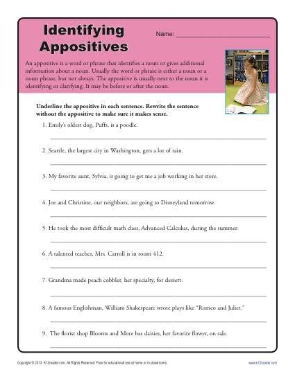 identify the appositives printable appositive worksheets