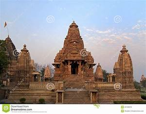 Hindu Temple At Western Site In India's Khajuraho. Stock ...