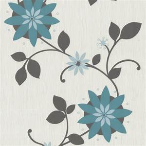 Tapete Petrol Muster : flair 03917 20 p s tapeten floral blumen gebl mt t rkis grau creme vlies neu ebay ~ Eleganceandgraceweddings.com Haus und Dekorationen