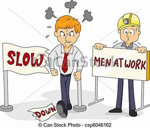 Clip Art of Funny Slow Down - Illustration of a Man ...