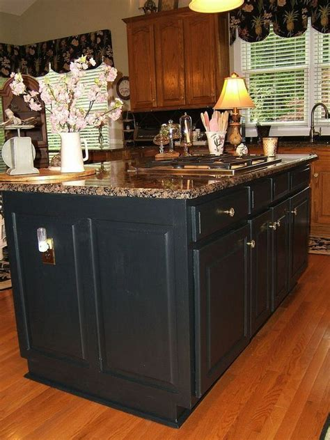 Island Kitchen Cabinet Painting painting an oak island black in 2019 for home
