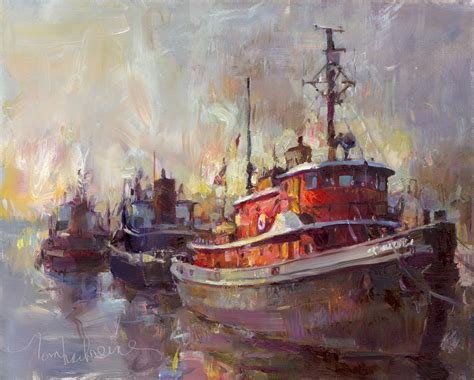 Tugboat Red by Red Tug Tom Nachreiner American Impressionist