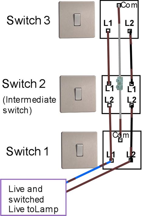 three way light switching light fitting