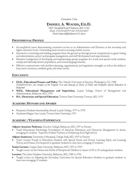 academic qualifications in resume academic cv exle professor