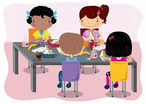 Kids Having Lunch stock vector. Illustration of eating ...