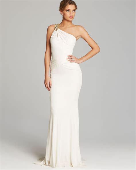 lyst badgley mischka gown  shoulder grecian drape
