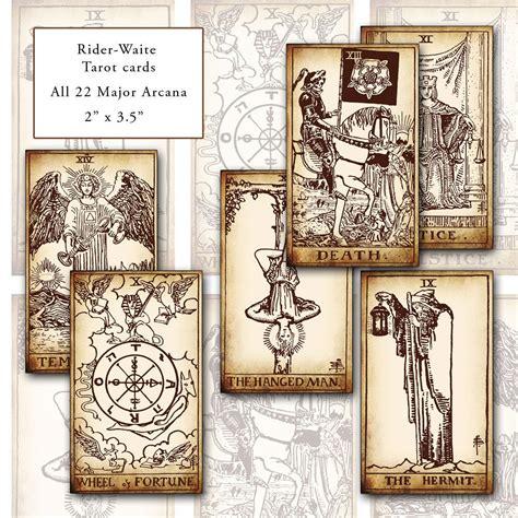 Or does your memory need a quick nudge? Rider-Waite Printable Tarot Card Set digital collage sheet
