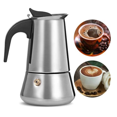 What to else to consider when shopping for one? Stainless Steel Moka Coffee Maker Latte Espresso Mocha Maker Pot Stovetop Filter Coffee 100ML ...