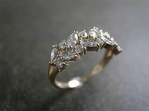 marquise wedding ring engagement ring diamond ring With solitaire ring with diamond wedding band