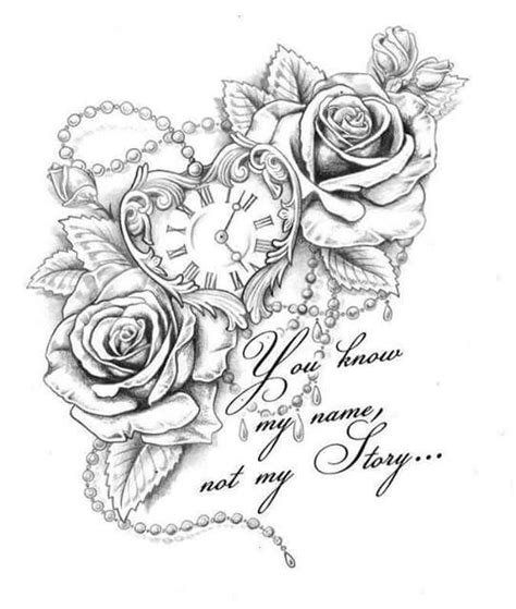 flowers clock adult coloring book image tattoos