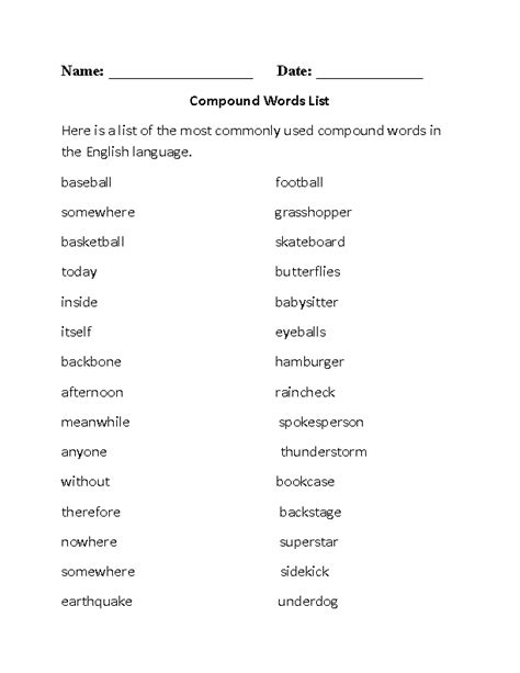 16 best images of 5th grade compound word worksheets