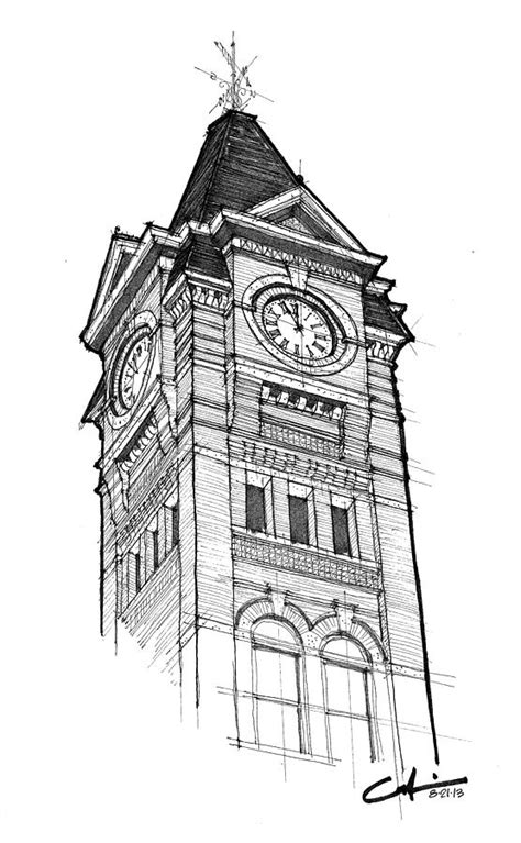 Samford Hall Drawing by Calvin Durham