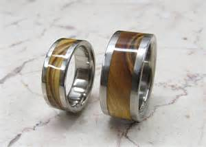 custom made wedding rings titanium wooden wedding bands set of two custom made by usajewelry