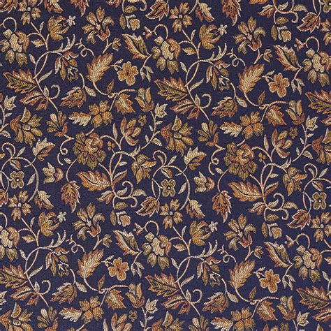 Blue And Orange Upholstery Fabric by E616 Floral Navy Blue Yellow Green Damask Upholstery
