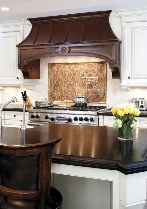kitchen  white cabinetry  dark wood detail