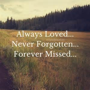 Forever Missed Never Forgotten Always Loved