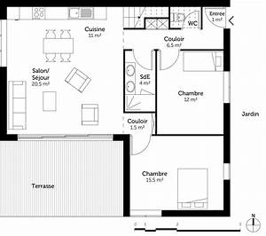 plan maison contemporaine 100 m2 ooreka With plans de maison contemporaine