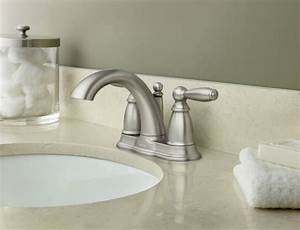 Moen 6610bn brantford two handle centerset lavatory faucet for How to install a faucet in the bathroom