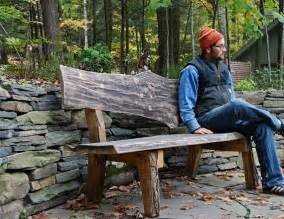 Rustic Slab Wood Benches Outdoor