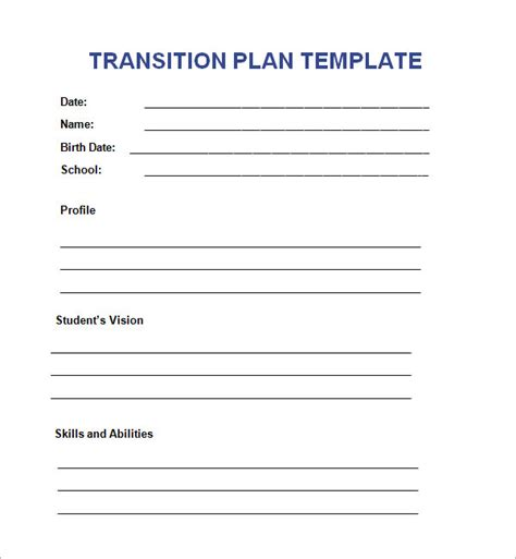 transition plan examples transition plan template