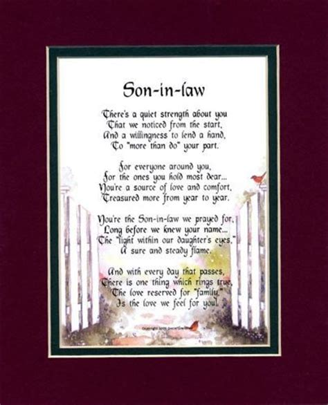 son  law touching  poem double matted  burgundy