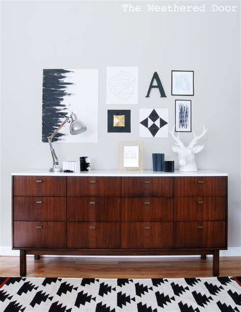 before after mid century modern credenza with a glossy