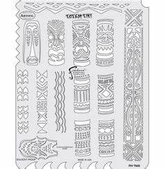 tiki trouble airbrush template stencil hawaii surf hula With tiki letter stencils