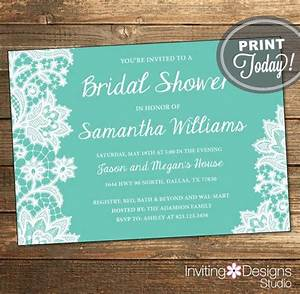 lace bridal shower invitation wedding shower invitation With free printable tiffany blue wedding invitations